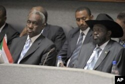 Southern Sudan leader Salva Kiir [R-front] and Sudan's 2nd Vice President Ali Osman Taha [L-front] attend the 14th Extra Ordinary Summit of the Inter-Governmental Authority Heads of State and Government at the Kenyatta International Conference Centre in N
