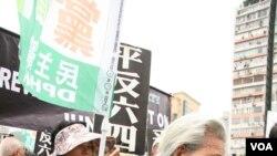88岁邓老太太拄着拐杖游行