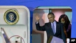 El presidente Barack Obama, acompañado de su familia, llegó a Buenos Aires.