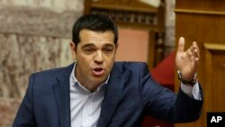 Alexis Tsipras, au Parlement grec (AP Photo/Thanassis Stavrakis)