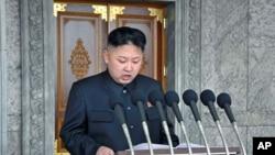 4月15号朝鲜领导人金正恩在检阅军队时发表讲话