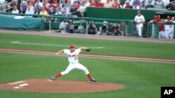 Stephen Strasburg pitches in debut game