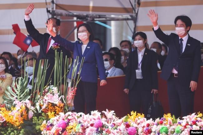台湾总统蔡英文在台北出席双十国庆庆祝仪式。(2021年10月10日)