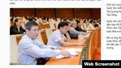 Các đại biểu Quốc hội biểu quyết thông qua các dự án luật. Ảnh chụp màn hình trang web vov.vn