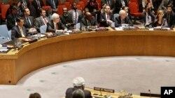 ABD temsilcisi Samantha Power (en sağda) Güvenlik Konseyinde oyunu kullanırken