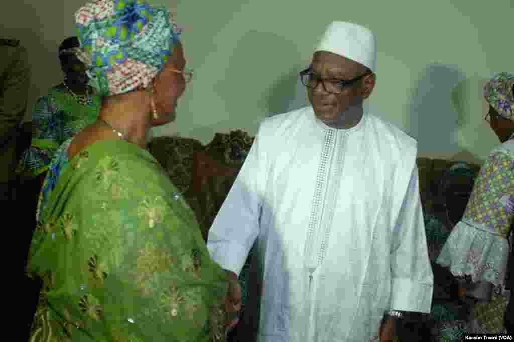 Le président du Mali Ibrahime Boubacar Kéita lors de la célébration du 8 mars à Bamako, Mali.
