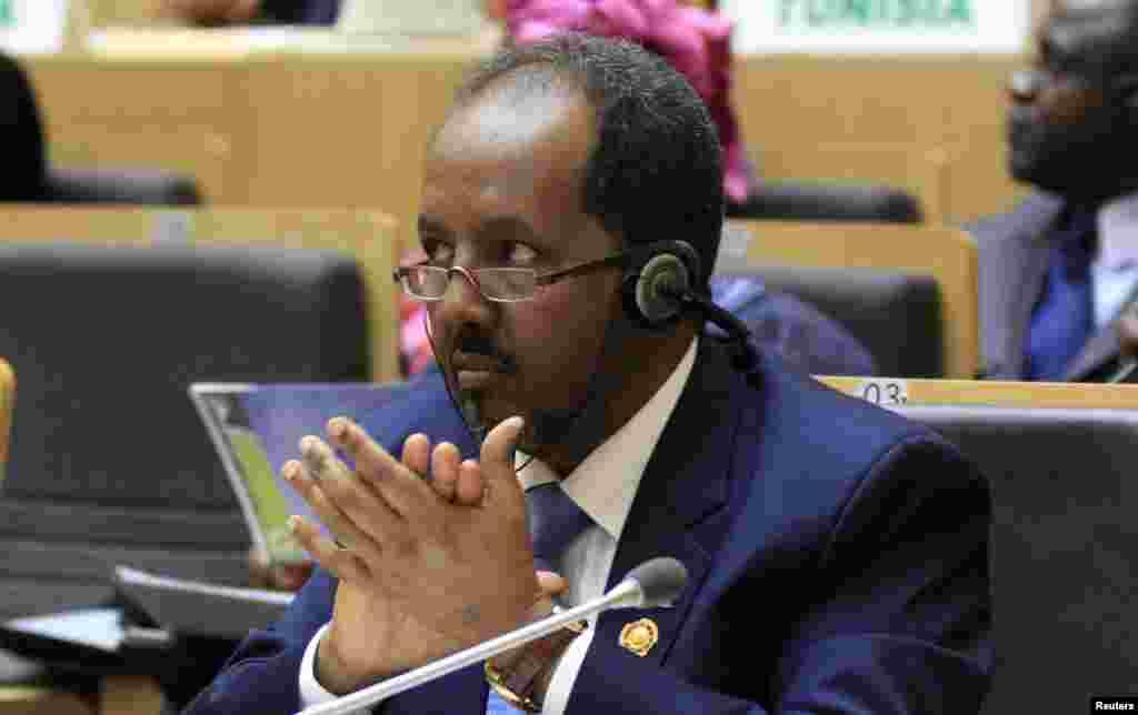 Rais Hassan Sheikh Mohamud wa Somalia ahudhuria mkutano wa viongozi wa AU Addis Ababa, Jan. 30, 2014.