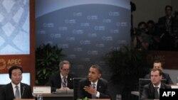 Kineski predsednik Hu Đintao, američki predsednik Barak Obama i ruski predsednik Dimitrij Medvedev na konferenciji APEKa, na Havajima