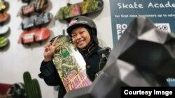 Atlet skateboard nasional Nyimas Bunga Cinta, 15 tahun, bercita-cita jadi skater pro perempuan pertama dari Indonesia.