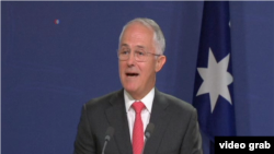 澳大利亞總理特恩布爾星期五宣布澳新兩國簽署的一項新的雙邊協議。(視頻截圖)