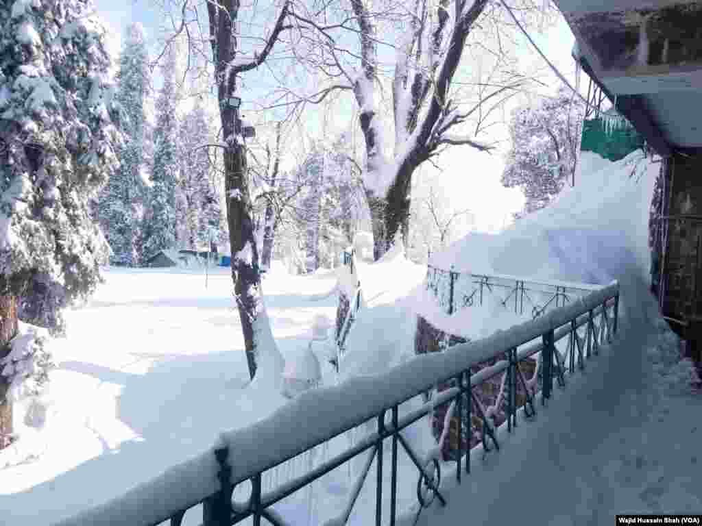 ٹھنڈے ٹھار موسم میں آسمان سے گرنے والے برف کے گالوں نے ہر طرف حسن بکھیر دیا ہے۔