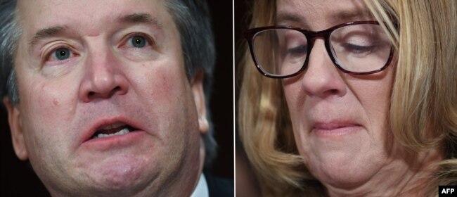 Christine Blasey Ford (solda), lise yıllarında Kavanaugh'u kendisine tecavüz etmeye çalışmakla suçluyor