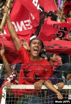Pendukung Partai Demokrasi Indonesia Perjuangan (PDIP) di Jakarta. (Foto: AFP/Weda)