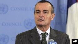 L'ambassadeur Gérard Araud lors d'un point de presse à l'ONU