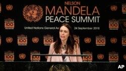 新西蘭總理阿德恩出席聯合國紀念曼德拉和平峰會時資料照。