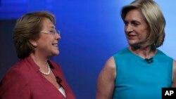 میشل باشله (چپ) و اولین ماتهی (راست) دو تن از کاندیداهای انتخابات ریاست جمهوری شیلی