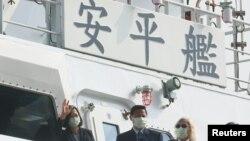 台湾总统蔡英文在高雄出席安平级巡防舰下水仪式。(2020年12月11日)