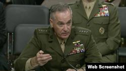 美軍參聯會主席鄧福德上將2017年6月13日在參議院作證(國會視頻截圖)