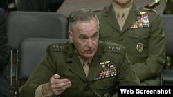 美军参联会主席邓福德上将2017年6月13日在参议院作证(国会视频截图)
