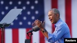 Former U.S. President Barack Obama campaigns on behalf of Joe Biden