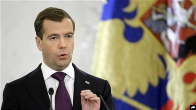 Russian President Dmitry Medvedev speaks in Moscow's Kremlin, 30 Nov 2010