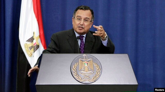 File - Egypt's Foreign Minister Nabil Fahmy during a news  conference in the West Bank city of Ramallah.