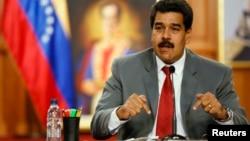 El presidente venezolano, Nicolás Maduro, habla durante una conferencia de prensa en Caracas.