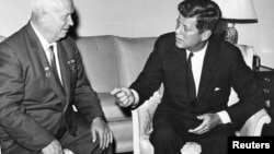 President John F. Kennedy, Jr. meet with Soviet leader Nikita Khrushchev in Vienna in June 1961.