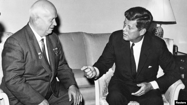 Soviet leader Nikita Khrushchev and President John F. Kennedy meet in Austria in June 1961.