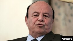 FILE - Yemen's President Abd-Rabbu Mansour Hadi is seen during a visit in Khartoum, August 29, 2015.