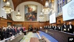 La Cour internationale de justice, La Haye, Pays-Bas, le 16 décembre 2015.