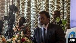 Le président de la République démocratique du Congo, Joseph Kabila, tient une conférence de presse à Kinshasa, le 26 janvier 2018.