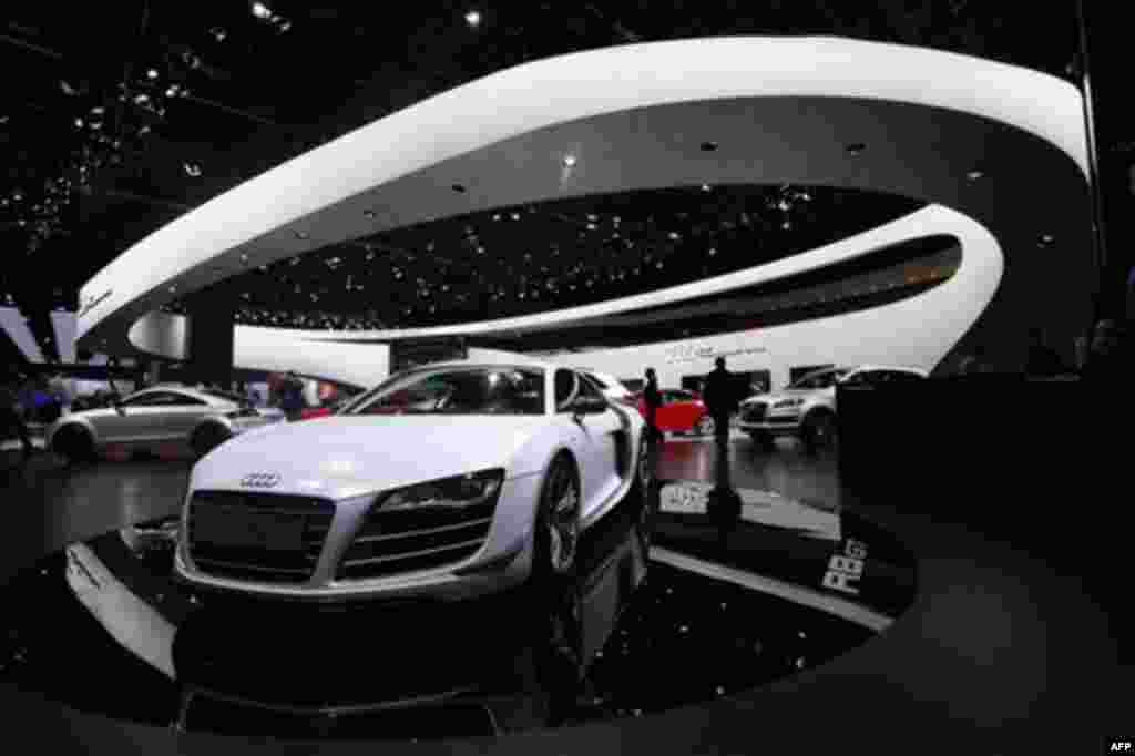 The Audi R8 GT is shown at the North American International Auto Show in Detroit, Tuesday, Jan. 11, 2011. (AP Photo/Paul Sancya)