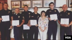 The team of firefighters from Chihuahua, Mexico who used VOA's Learning English series