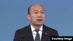 台灣在野黨國民黨總統候選人韓國瑜29日在總統辯論會中發言(台灣公視網絡直播截圖)