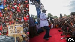 Raila na Uhuru wakati wa mikutano yao ya kampeni za mwisho.