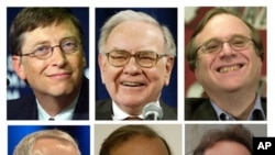 Quelques riches du monde selon Forbes, de gauche à droite, Bill Gates, Warren Buffett, Paul Allen, Robson Walton, Carlos Slim Helu et Lawrence Ellison (Archives))