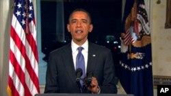 예산합의 성명을 발표하는 오바마 대통령