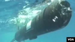 美軍積極研製無人水下航行器。(視頻截圖)
