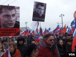 3月1日的莫斯科大游行悼念反对派领袖涅姆佐夫。(美国之音 白桦拍摄)