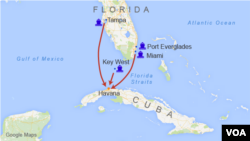 Possible host ports for ferry service between Florida and Cuba