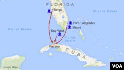 Bộ tài chánh Mỹ đã cấp phép cho ít nhất 4 công ty để chở hành khách và hàng hoá dọc theo tuyến hàng hải 150 kilomét từ mũi phía nam tiểu bang Florida tới Havana.