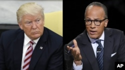 From left, President Donald Trump and NBC anchor Lester Holt.