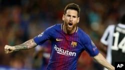 Lionel Messi lors d'un match entre le FC Barcelone et la Juventus, au stade Camp Nou de Barcelone, en Espagne, le mardi 12 septembre 2017.