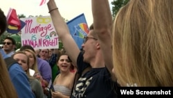 Hundreds celebrate after the landmark Supreme Court decision settled a major battle over the rights of sexual minorities.