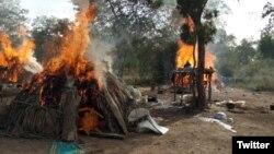 Wan sansanin 'yan bindiga da dakarun Najeriya suka tarwatsa a jihar Zamfara (Hoto- Shafin twitter na sojojin Najeriya)