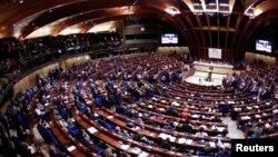 FILE - General view of the plenary session of the Council of Europe during the official opening of the Strasbourg World Forum for Democracy, organized at the Council of Europe in Strasbourg, Oct. 8, 2012.