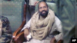 Saif al-Islam Gadhafi sitting with his captors in Obari airport November 19, 2011. Saif al-Islam has been captured in Libya's southern desert with a handful of supporters.