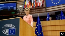 Presiden Komisi Eropa Ursula von der Leyen berbicara di depan anggota Parlemen Eropa di Brussels, Belgia (16/9).