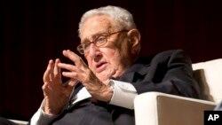 FILE - Former Secretary of State and former National Security Adviser Henry Kissinger speaks in Austin, Texas, April 26, 2016.